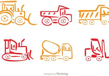 Colorful Line Dump Trucks Vector - vector gratuit #161475