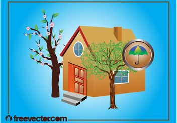 House With Trees - vector gratuit #161885