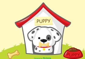 Dalmatian Puppy Vector with House - vector gratuit #161895
