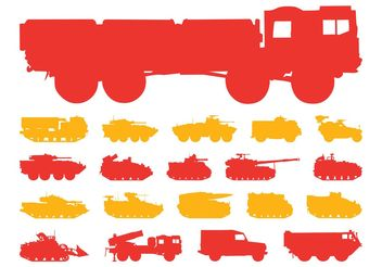 Military Vehicles Silhouettes - vector gratuit #161985