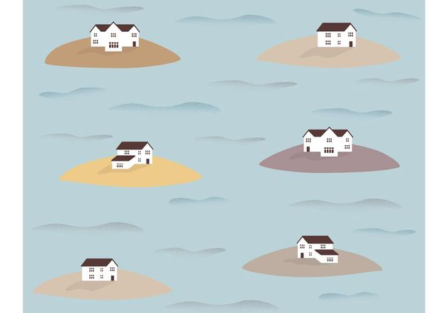 Houses on Islands Pattern Vector - Free vector #162185