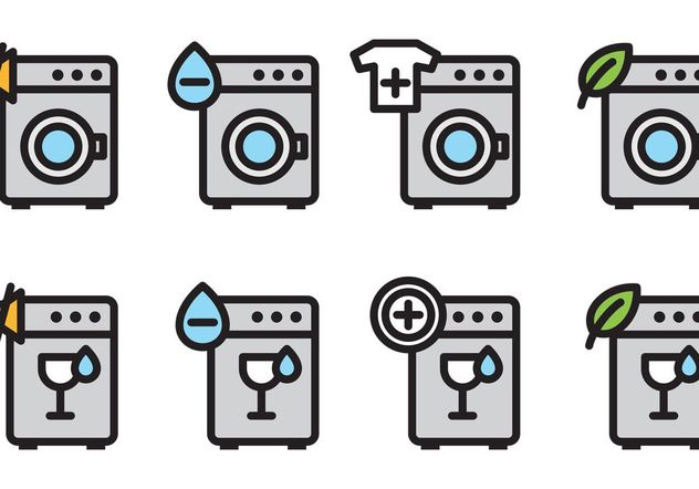 Wash Machine Vector Icons - бесплатный vector #162195