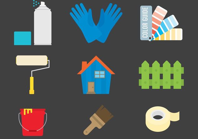 Painting and Home Vector Icons - Free vector #162245