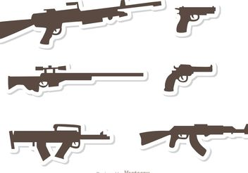 Gun Set Vectors Pack 3 - vector gratuit #162515