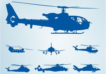 Helicopter Silhouettes - vector #162525 gratis