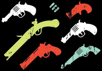 Collection of Vintage Gun Shapes - vector gratuit #162545