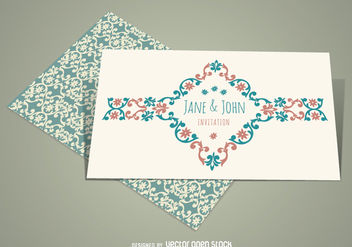 Elegant Vintage Wedding Invitation - vector gratuit #162825