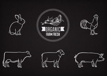 Liner Farm Animals on Chalkboard - vector gratuit #162885