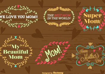 Mother's Day Typographic Floral Ornaments - Free vector #162905