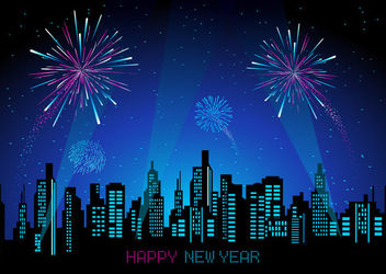 Abstract Cityscape with Fireworks - Free vector #162955