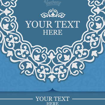 Blue Ornate Floral Invitation Card - Free vector #163015