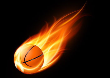 Realistic Basketball on Fire - Free vector #163095