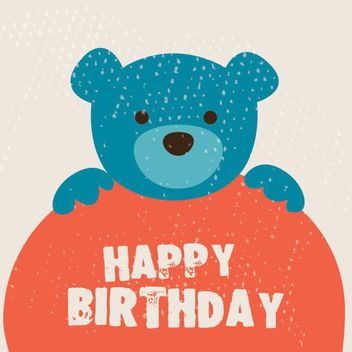 Cute Teddy Bear Birthday Card - vector gratuit #163145
