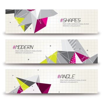 Abstract Colorful Triangles Banner Templates - vector gratuit #163235
