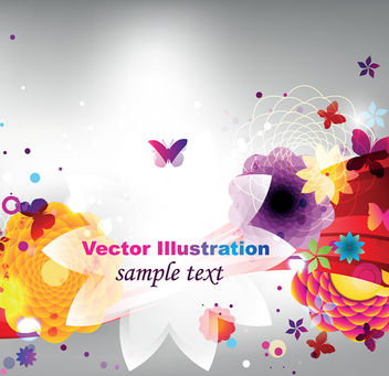 Abstract Colorful Floral Shiny Background - vector gratuit #163265