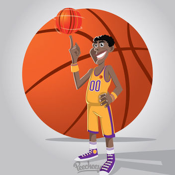 Funky Basketball Sport Cartoon Player - vector gratuit #163295
