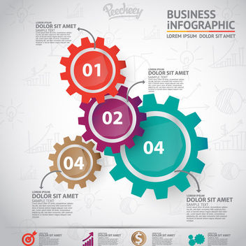 Colorful Cogwheel Business Infographic - бесплатный vector #163325