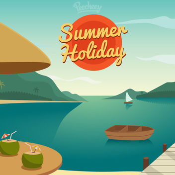 Summer Holiday Resort Cartoon - бесплатный vector #163335