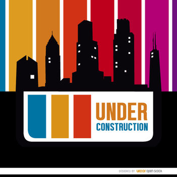 Under construction buildings skyline - vector gratuit #163375