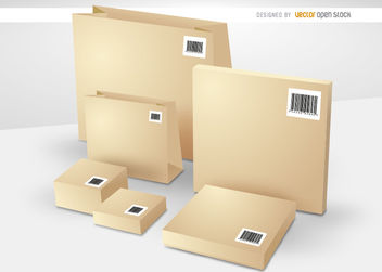 Boxes and bags with codebars - Free vector #163485