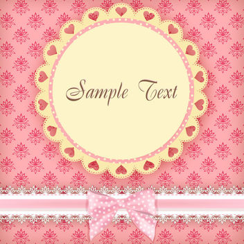 Round Frame Pink Floral Card - Free vector #163535