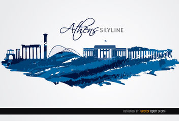 Athens landmarks painted blue - Free vector #163675