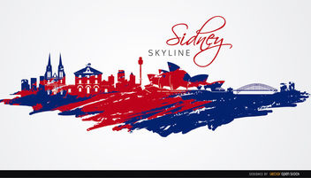 Sydney skyline painted flag colors - vector gratuit #163695