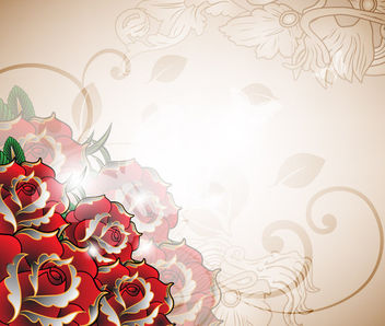 Decorative Red Roses Romantic Background - vector gratuit #163705