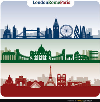 London Rome Paris skyline banners - Free vector #163755