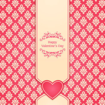 Vintage Ornate Pattern Valentine Card - vector gratuit #163765