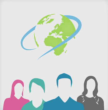 Corporate People & Globe inside Ring - vector gratuit #163775