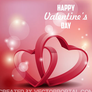Colorful 3D Heart Valentine Card - vector gratuit #163785