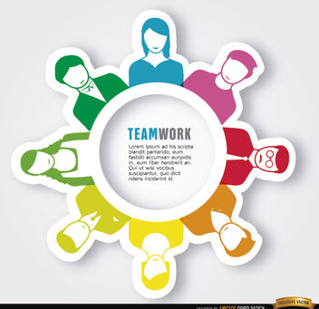 Executive teamwork people around circle - vector #163815 gratis