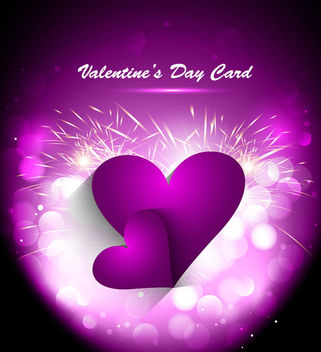 Purple Heart Valentine Firework Card - Free vector #163835