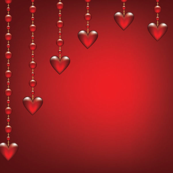 Glossy Hearts Hanging on Beads - Free vector #163845