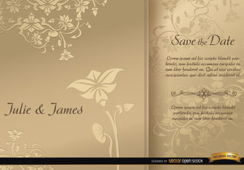 Golden floral sleeve wedding card - vector gratuit #163855