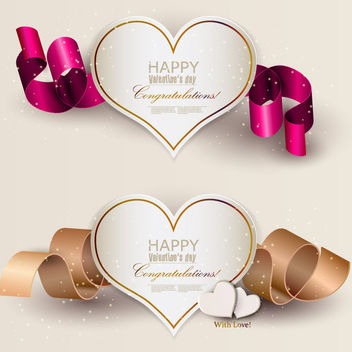 Paper Cutting Hearts 3D Ribbons - vector gratuit #163885