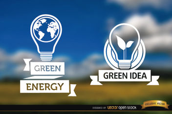 Light bulb label ecology blurred background - Free vector #163935