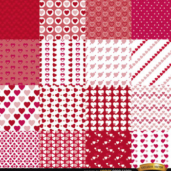 16 Valentine's Day seamless patterns - vector gratuit #164065