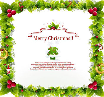 Xmas Card with Decorative Wreath Frame - vector gratuit #164175