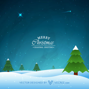 Winter Night Xmas Trees on Snowy Landscape - Free vector #164205