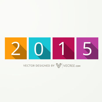 Long Shadowed 2015 over Separate Colored Squares - Free vector #164215