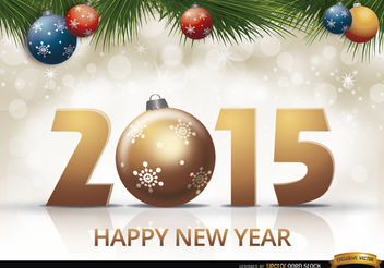2015 new year balls pine leaves - Free vector #164225