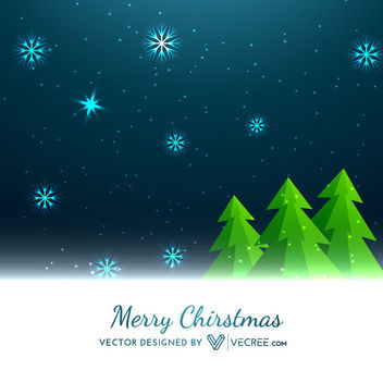 Christmas Trees with Midnight Background - vector gratuit #164245