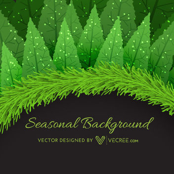 Wreath Frame Xmas Trees Background Template - Free vector #164275