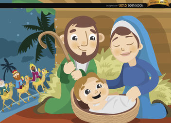 Joseph Mary Jesus Wise men cartoon - Free vector #164295