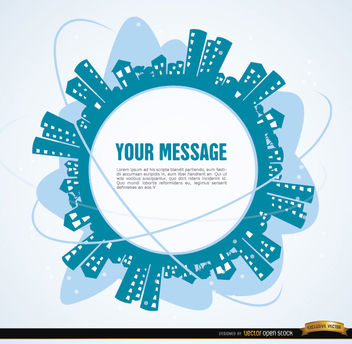 City around message circle - vector gratuit #164305