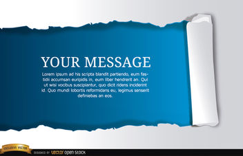 Torn horizontal blue scroll message - Free vector #164395
