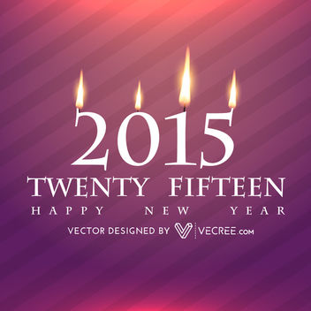 New Year 2015 Candle Lights Greeting Design - Kostenloses vector #164415