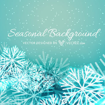 Seasonal Xmas Background with Snowflakes - vector gratuit #164425
